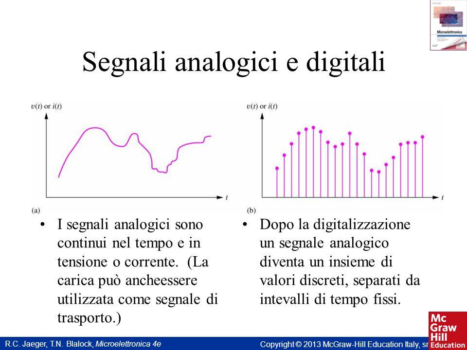 R.C. Jaeger, T.N. Blalock, Microelettronica 4e Copyright © 2013 McGraw-Hill Education Italy, srl Segnali analogici e digitali I segnali analogici sono