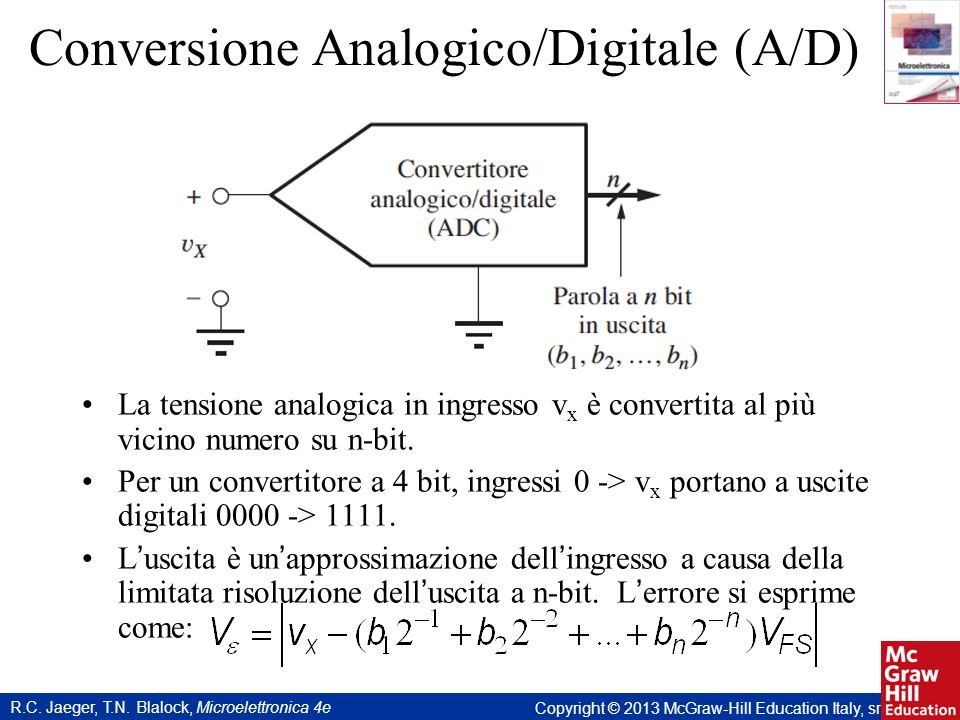 R.C. Jaeger, T.N. Blalock, Microelettronica 4e Copyright © 2013 McGraw-Hill Education Italy, srl Conversione Analogico/Digitale (A/D) La tensione anal