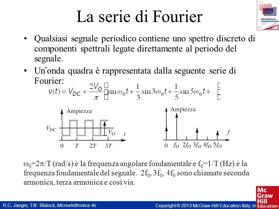R.C. Jaeger, T.N. Blalock, Microelettronica 4e Copyright © 2013 McGraw-Hill Education Italy, srl La serie di Fourier Qualsiasi segnale periodico conti