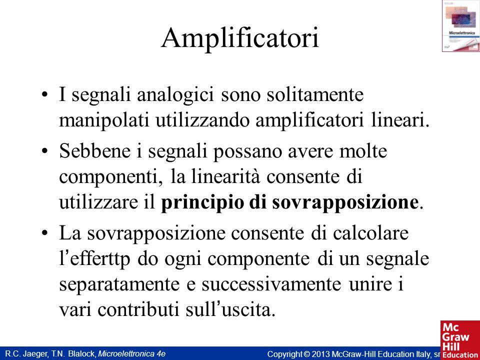 R.C. Jaeger, T.N. Blalock, Microelettronica 4e Copyright © 2013 McGraw-Hill Education Italy, srl Amplificatori I segnali analogici sono solitamente ma