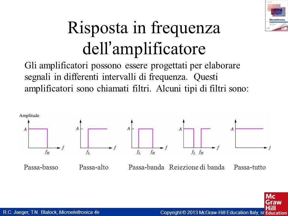 R.C. Jaeger, T.N. Blalock, Microelettronica 4e Copyright © 2013 McGraw-Hill Education Italy, srl Risposta in frequenza dell amplificatore Passa-bassoP
