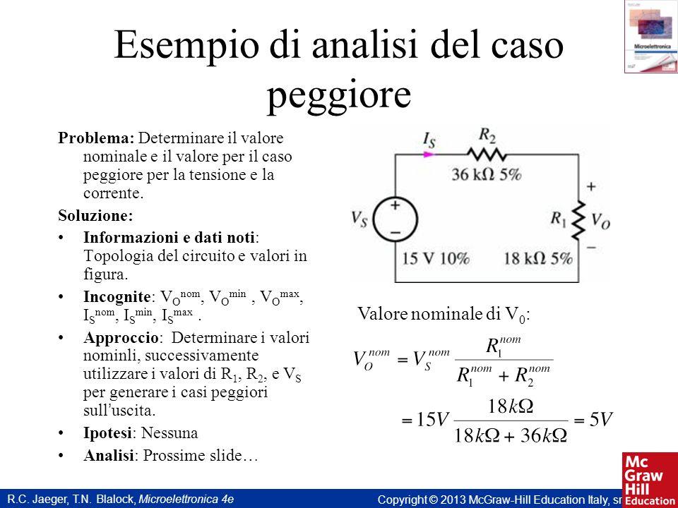 R.C. Jaeger, T.N. Blalock, Microelettronica 4e Copyright © 2013 McGraw-Hill Education Italy, srl Esempio di analisi del caso peggiore Problema: Determ