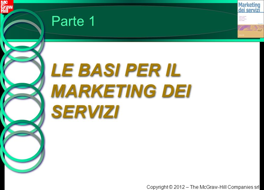 Copyright © 2012 – The McGraw-Hill Companies srl Parte 1 LE BASI PER IL MARKETING DEI SERVIZI