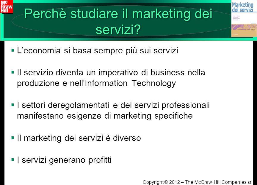 Copyright © 2012 – The McGraw-Hill Companies srl Perchè studiare il marketing dei servizi? Leconomia si basa sempre più sui servizi Il servizio divent