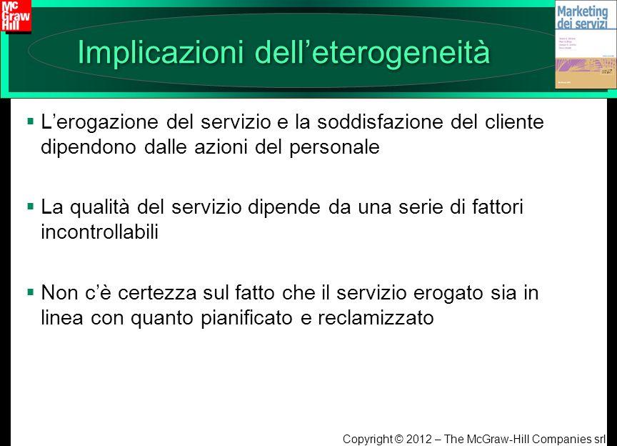 Copyright © 2012 – The McGraw-Hill Companies srl Implicazioni delleterogeneità Lerogazione del servizio e la soddisfazione del cliente dipendono dalle