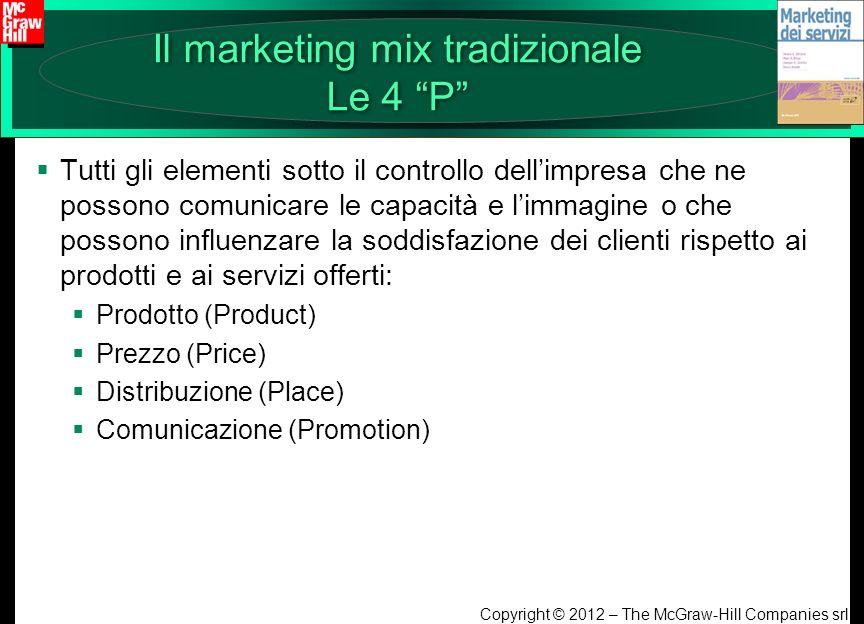 Copyright © 2012 – The McGraw-Hill Companies srl Il marketing mix tradizionale Le 4 P Tutti gli elementi sotto il controllo dellimpresa che ne possono