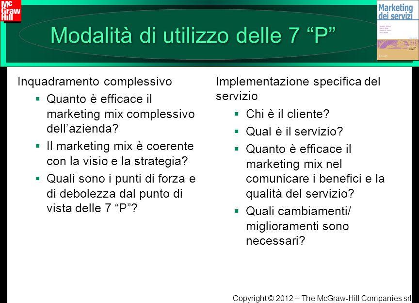 Copyright © 2012 – The McGraw-Hill Companies srl Modalità di utilizzo delle 7 P Inquadramento complessivo Quanto è efficace il marketing mix complessi
