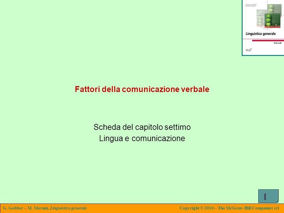 G. Gobber – M. Morani, Linguistica generaleCopyright © 2010 – The McGraw-Hill Companies srl 1 Fattori della comunicazione verbale Scheda del capitolo