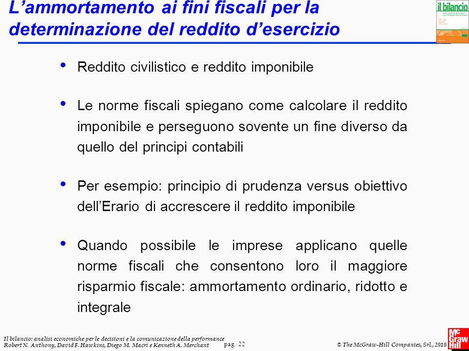 pag. 22 Il bilancio: analisi economiche per le decisioni e la comunicazione della performance Robert N. Anthony, David F. Hawkins, Diego M. Macrì e Ke