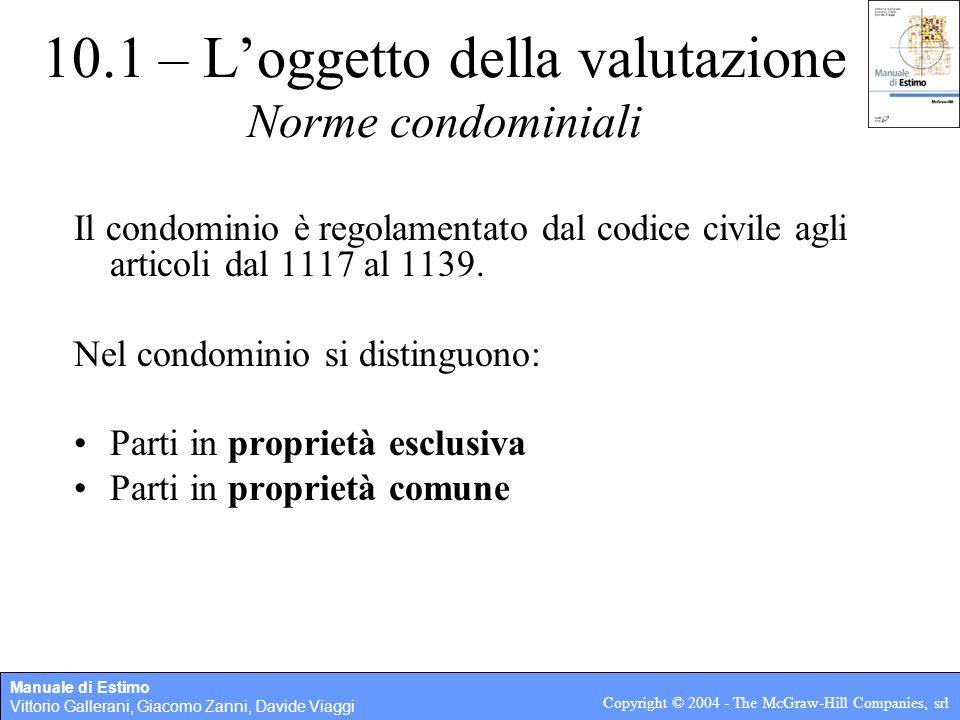 Manuale di Estimo Vittorio Gallerani, Giacomo Zanni, Davide Viaggi Copyright © 2004 - The McGraw-Hill Companies, srl 10.1 – Loggetto della valutazione
