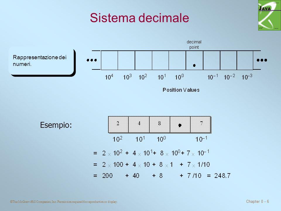 ©The McGraw-Hill Companies, Inc. Permission required for reproduction or display. Chapter 0 - 6 Sistema decimale Rappresentazione dei numeri. Esempio: