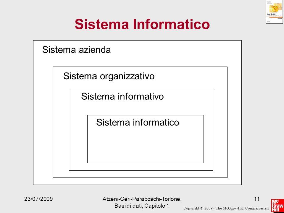 Copyright © 2009 - The McGraw-Hill Companies, srl 23/07/2009Atzeni-Ceri-Paraboschi-Torlone, Basi di dati, Capitolo 1 11 Sistema Informatico Sistema az