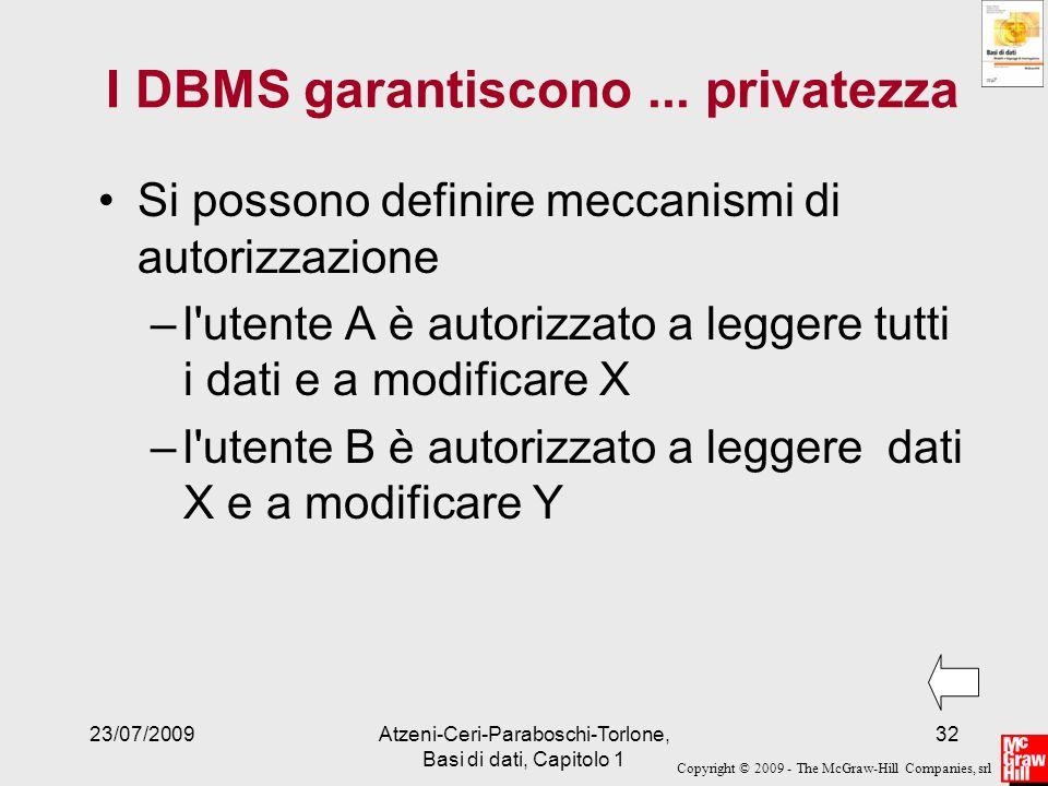Copyright © 2009 - The McGraw-Hill Companies, srl 23/07/2009Atzeni-Ceri-Paraboschi-Torlone, Basi di dati, Capitolo 1 32 I DBMS garantiscono... private