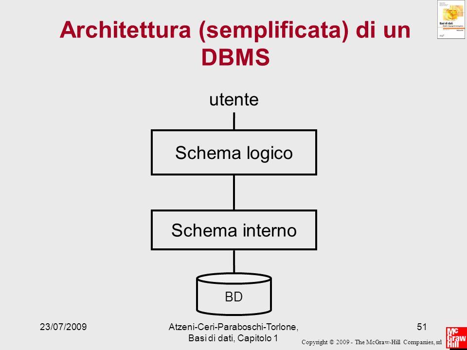 Copyright © 2009 - The McGraw-Hill Companies, srl 23/07/2009Atzeni-Ceri-Paraboschi-Torlone, Basi di dati, Capitolo 1 51 Architettura (semplificata) di