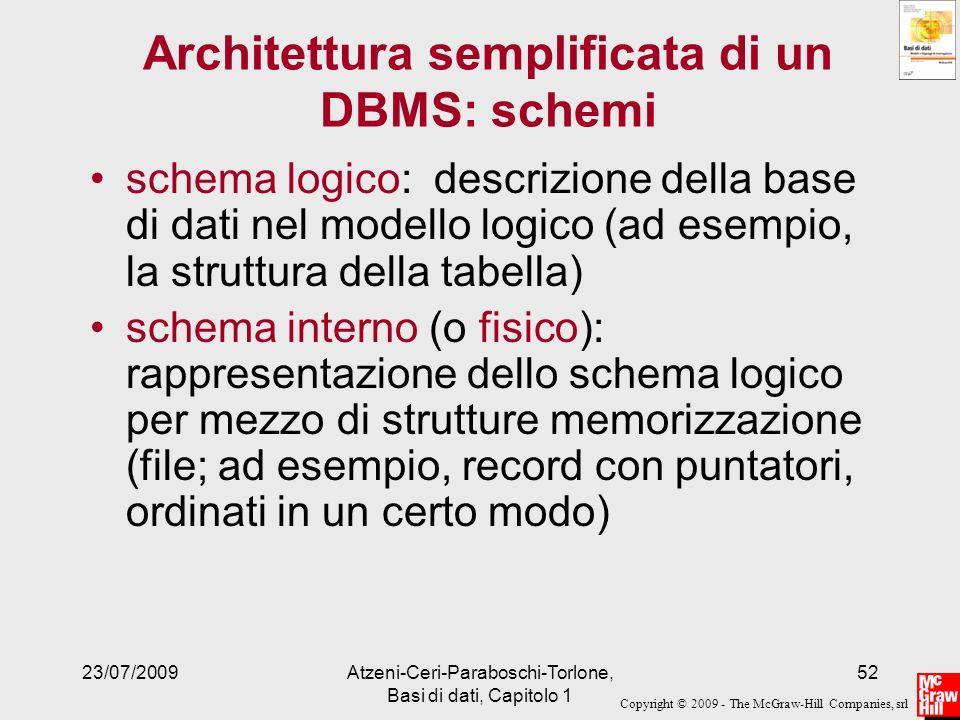 Copyright © 2009 - The McGraw-Hill Companies, srl 23/07/2009Atzeni-Ceri-Paraboschi-Torlone, Basi di dati, Capitolo 1 52 Architettura semplificata di u