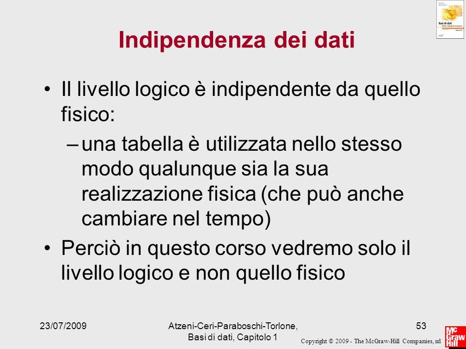 Copyright © 2009 - The McGraw-Hill Companies, srl 23/07/2009Atzeni-Ceri-Paraboschi-Torlone, Basi di dati, Capitolo 1 53 Indipendenza dei dati Il livel