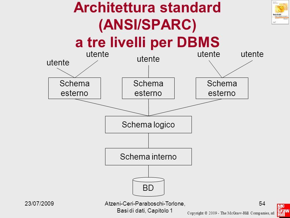 Copyright © 2009 - The McGraw-Hill Companies, srl 23/07/2009Atzeni-Ceri-Paraboschi-Torlone, Basi di dati, Capitolo 1 54 Architettura standard (ANSI/SP