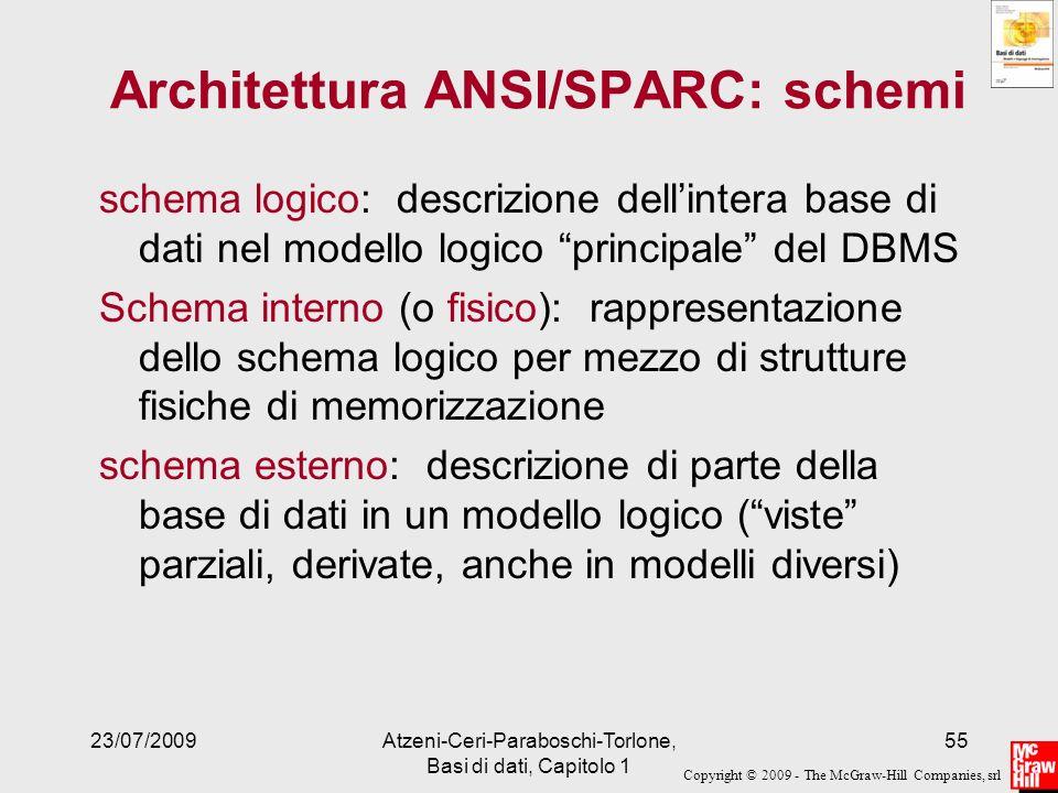 Copyright © 2009 - The McGraw-Hill Companies, srl 23/07/2009Atzeni-Ceri-Paraboschi-Torlone, Basi di dati, Capitolo 1 55 Architettura ANSI/SPARC: schem