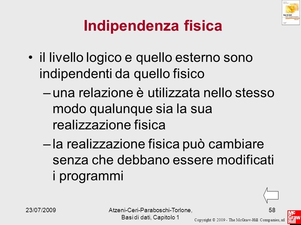 Copyright © 2009 - The McGraw-Hill Companies, srl 23/07/2009Atzeni-Ceri-Paraboschi-Torlone, Basi di dati, Capitolo 1 58 Indipendenza fisica il livello