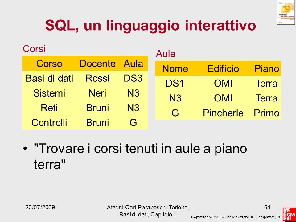 Copyright © 2009 - The McGraw-Hill Companies, srl 23/07/2009Atzeni-Ceri-Paraboschi-Torlone, Basi di dati, Capitolo 1 61 SQL, un linguaggio interattivo