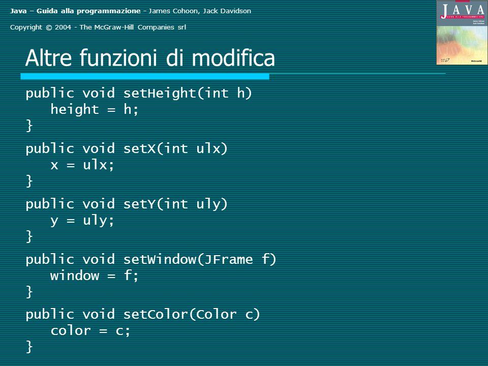 Java – Guida alla programmazione - James Cohoon, Jack Davidson Copyright © 2004 - The McGraw-Hill Companies srl Altre funzioni di modifica public void setHeight(int h) height = h; } public void setX(int ulx) x = ulx; } public void setY(int uly) y = uly; } public void setWindow(JFrame f) window = f; } public void setColor(Color c) color = c; }