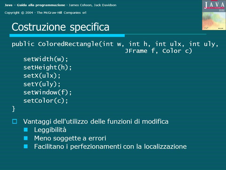 Java – Guida alla programmazione - James Cohoon, Jack Davidson Copyright © 2004 - The McGraw-Hill Companies srl Costruzione specifica public ColoredRectangle(int w, int h, int ulx, int uly, JFrame f, Color c) setWidth(w); setHeight(h); setX(ulx); setY(uly); setWindow(f); setColor(c); } Vantaggi dell utilizzo delle funzioni di modifica Leggibilità Meno soggette a errori Facilitano i perfezionamenti con la localizzazione