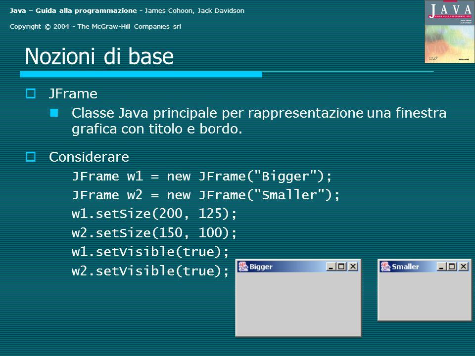 Java – Guida alla programmazione - James Cohoon, Jack Davidson Copyright © 2004 - The McGraw-Hill Companies srl Nozioni di base JFrame Classe Java principale per rappresentazione una finestra grafica con titolo e bordo.