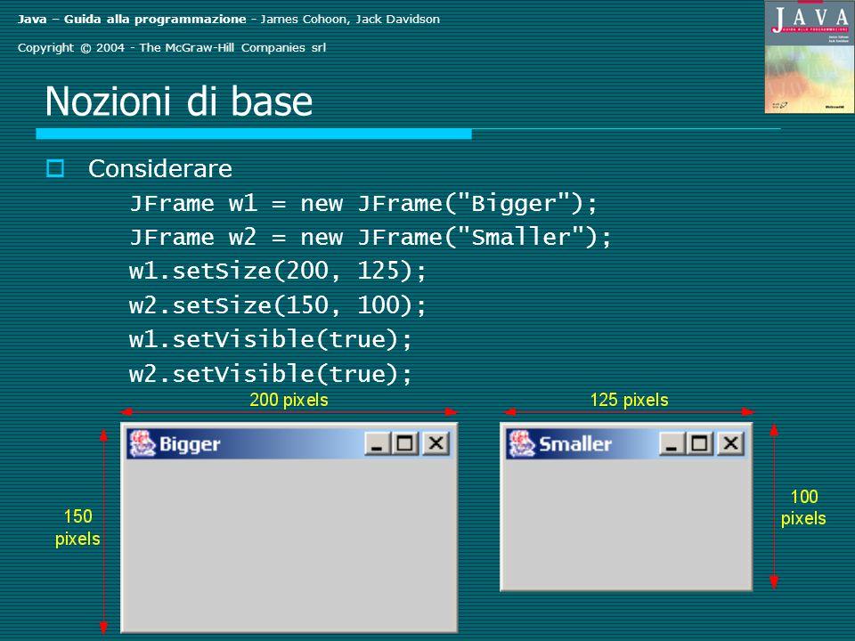Java – Guida alla programmazione - James Cohoon, Jack Davidson Copyright © 2004 - The McGraw-Hill Companies srl Nozioni di base Considerare JFrame w1 = new JFrame( Bigger ); JFrame w2 = new JFrame( Smaller ); w1.setSize(200, 125); w2.setSize(150, 100); w1.setVisible(true); w2.setVisible(true);