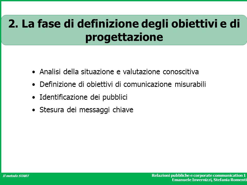 Relazioni pubbliche e corporate communication 1 Emanuele Invernizzi, Stefania Romenti Il metodo START 2. La fase di definizione degli obiettivi e di p