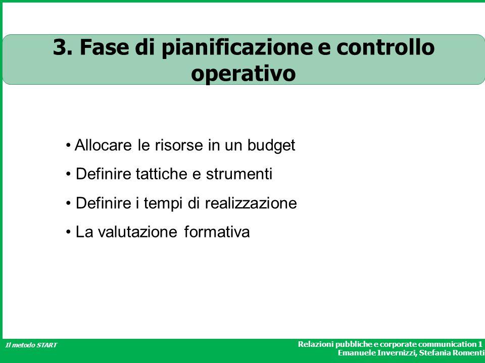 Relazioni pubbliche e corporate communication 1 Emanuele Invernizzi, Stefania Romenti Il metodo START Allocare le risorse in un budget Definire tattic