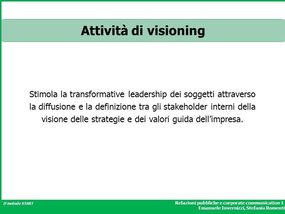 Relazioni pubbliche e corporate communication 1 Emanuele Invernizzi, Stefania Romenti Il metodo START Attività di visioning Stimola la transformative