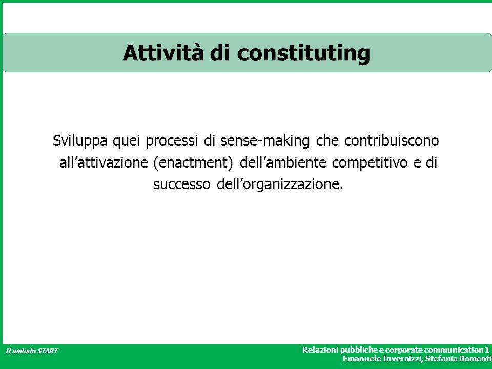 Relazioni pubbliche e corporate communication 1 Emanuele Invernizzi, Stefania Romenti Il metodo START Attività di constituting Sviluppa quei processi