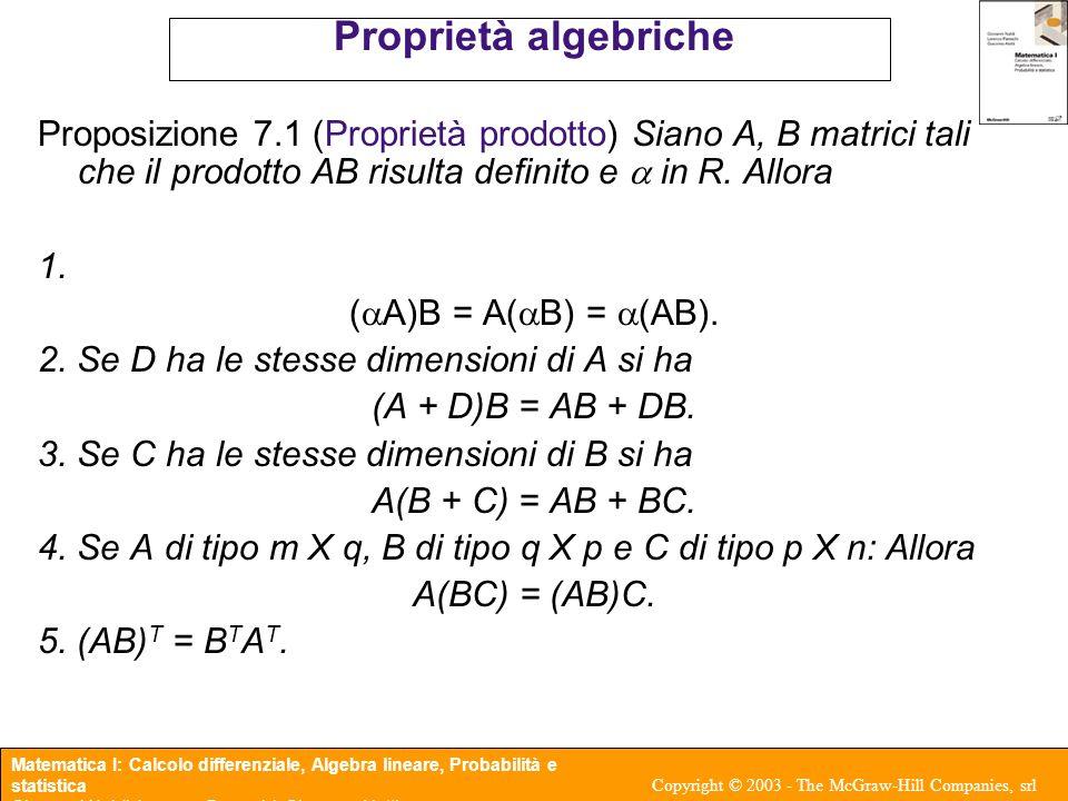 Matematica I: Calcolo differenziale, Algebra lineare, Probabilità e statistica Giovanni Naldi, Lorenzo Pareschi, Giacomo Aletti Copyright © 2003 - The McGraw-Hill Companies, srl Prodotto scalare Nel caso di vettori di uguali dimensioni e possibile eseguire i prodotti di tipo 1 X q con q X 1 ossia vettore riga per vettore colonna x T y = (x 1 y 1 + x 2 y 2 + …+ x q y q ) detto anche prodotto scalare e restituisce quanto restituisce un numero.