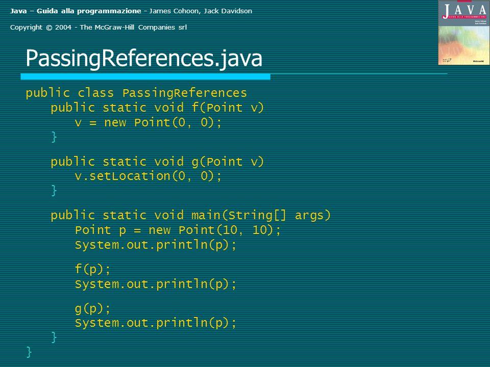 Java – Guida alla programmazione - James Cohoon, Jack Davidson Copyright © 2004 - The McGraw-Hill Companies srl PassingReferences.java public class Pa