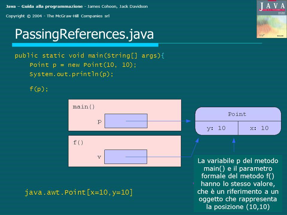 Java – Guida alla programmazione - James Cohoon, Jack Davidson Copyright © 2004 - The McGraw-Hill Companies srl PassingReferences.java public static void main(String[] args){ Point p = new Point(10, 10); System.out.println(p); f(p); java.awt.Point[x=10,y=10 ] La variabile p del metodo main() e il parametro formale del metodo f() hanno lo stesso valore, che è un riferimento a un oggetto che rappresenta la posizione (10,10)