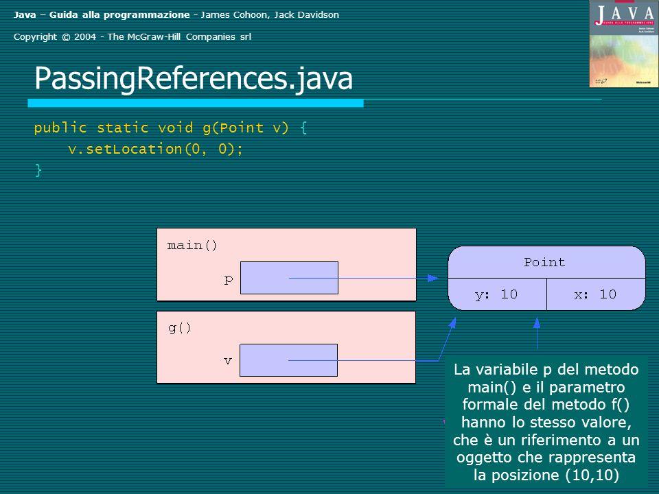 Java – Guida alla programmazione - James Cohoon, Jack Davidson Copyright © 2004 - The McGraw-Hill Companies srl PassingReferences.java public static void g(Point v) { v.setLocation(0, 0); } La variabile p del metodo main() e il parametro formale del metodo f() hanno lo stesso valore, che è un riferimento a un oggetto che rappresenta la posizione (10,10)
