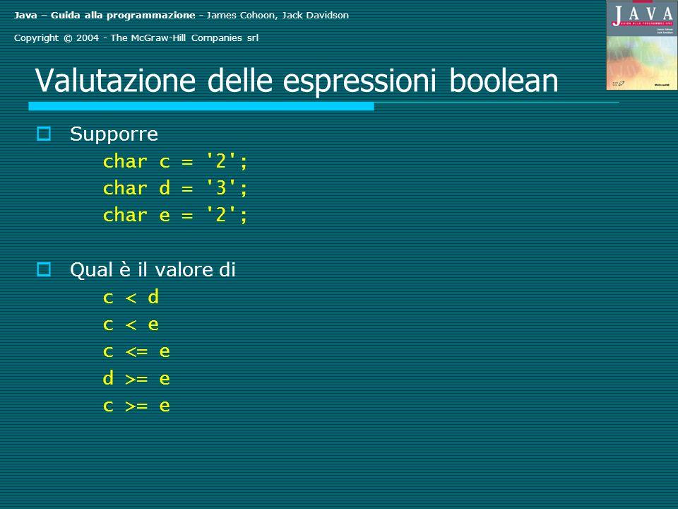 Java – Guida alla programmazione - James Cohoon, Jack Davidson Copyright © 2004 - The McGraw-Hill Companies srl Valutazione delle espressioni boolean Supporre char c = 2 ; char d = 3 ; char e = 2 ; Qual è il valore di c < d c < e c <= e d >= e c >= e