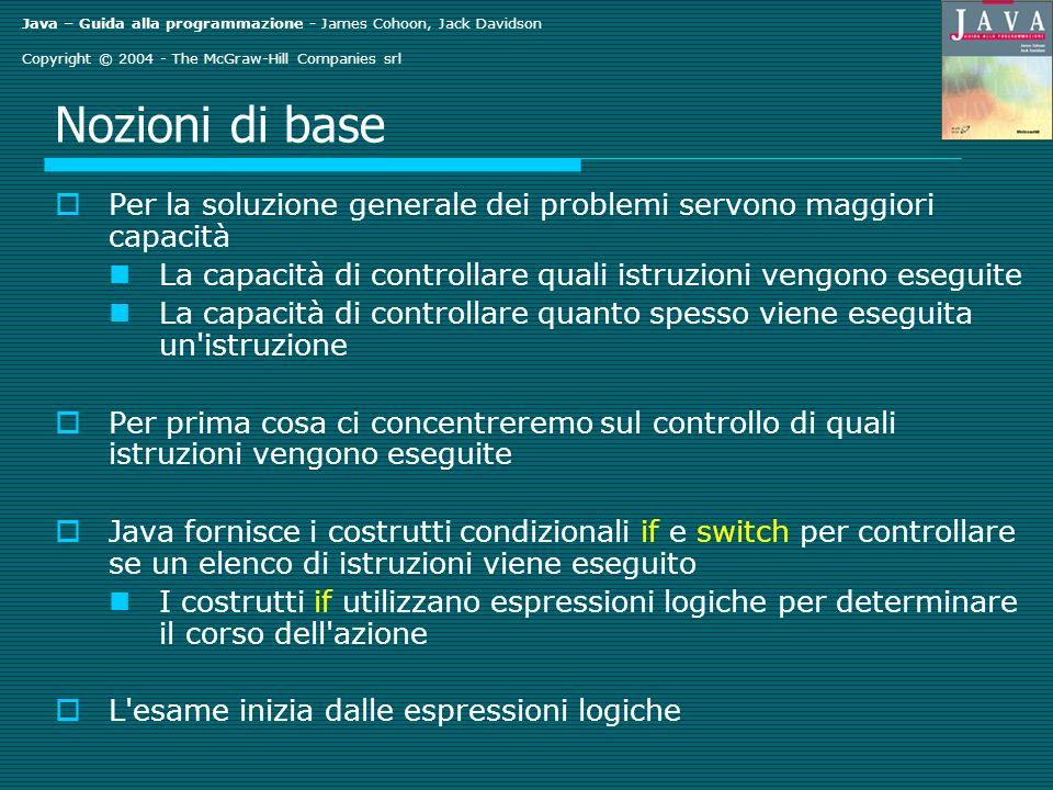 Java – Guida alla programmazione - James Cohoon, Jack Davidson Copyright © 2004 - The McGraw-Hill Companies srl Implementazione - facilitatore paint() // paint(): facilitatore di rendering public void paint(Graphics g) Point v1 = getPoint(1); Point v2 = getPoint(2); Point v3 = getPoint(3); Color c = getColor(); g.setColor(c); Polygon t = new Polygon(); t.addPoint(v1.x, v1.y); t.addPoint(v2.x, v2.y); t.addPoint(v3.x, v3.y); g.fillPolygon(t); } Parte di awt Rappresenta un poligono usando l elenco di punti nel poligono referenziato da t