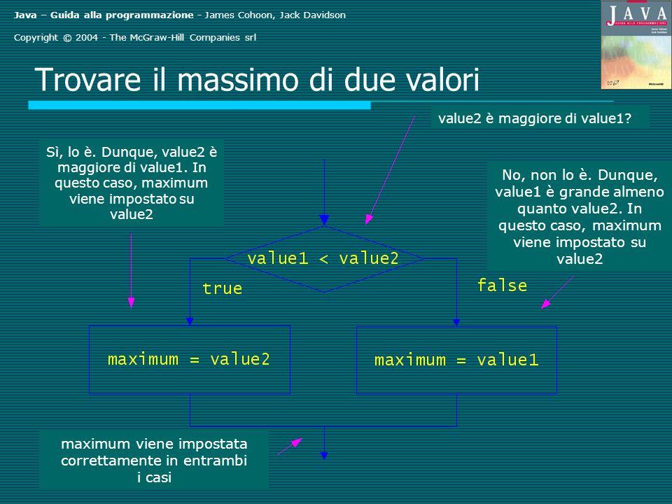 Java – Guida alla programmazione - James Cohoon, Jack Davidson Copyright © 2004 - The McGraw-Hill Companies srl Trovare il massimo di due valori value2 è maggiore di value1.