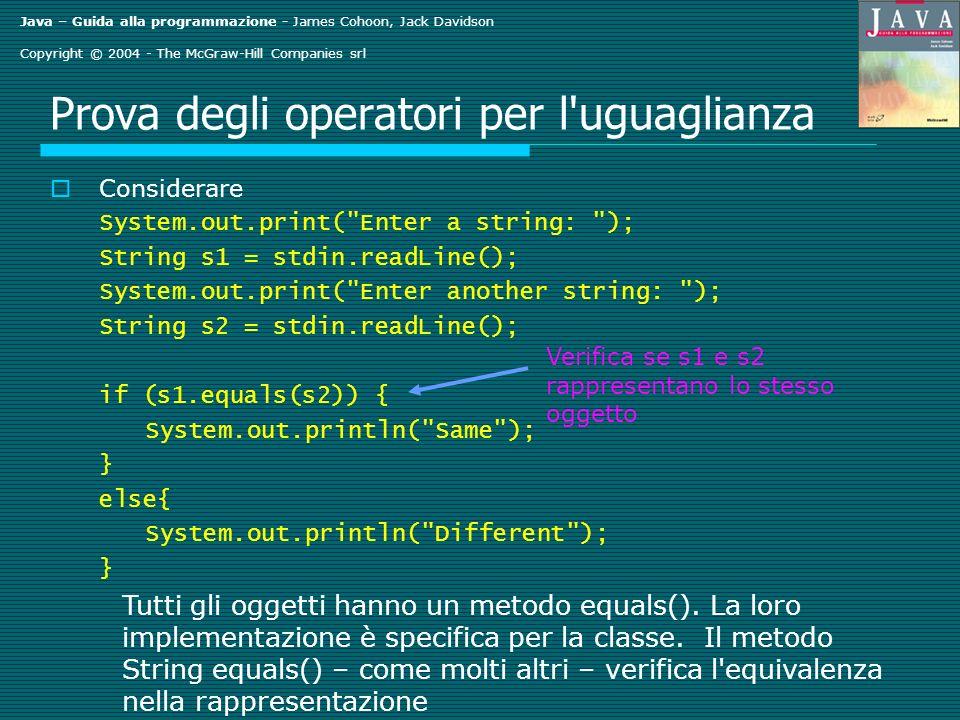 Java – Guida alla programmazione - James Cohoon, Jack Davidson Copyright © 2004 - The McGraw-Hill Companies srl Prova degli operatori per l'uguaglianz
