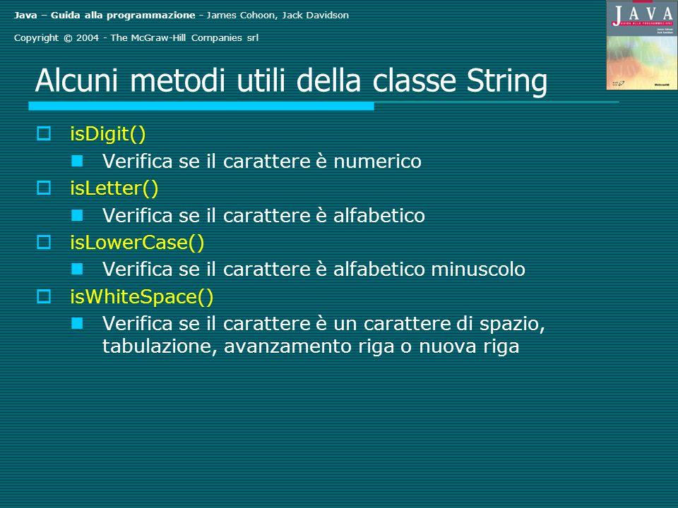 Java – Guida alla programmazione - James Cohoon, Jack Davidson Copyright © 2004 - The McGraw-Hill Companies srl Alcuni metodi utili della classe Strin