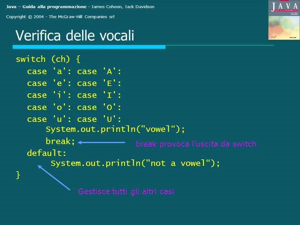 Java – Guida alla programmazione - James Cohoon, Jack Davidson Copyright © 2004 - The McGraw-Hill Companies srl Verifica delle vocali switch (ch) { ca