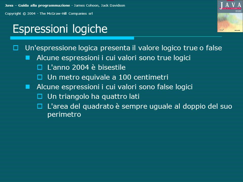 Java – Guida alla programmazione - James Cohoon, Jack Davidson Copyright © 2004 - The McGraw-Hill Companies srl Espressioni logiche Un'espressione log