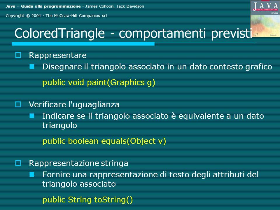 Java – Guida alla programmazione - James Cohoon, Jack Davidson Copyright © 2004 - The McGraw-Hill Companies srl ColoredTriangle - comportamenti previsti Rappresentare Disegnare il triangolo associato in un dato contesto grafico public void paint(Graphics g) Verificare l uguaglianza Indicare se il triangolo associato è equivalente a un dato triangolo public boolean equals(Object v) Rappresentazione stringa Fornire una rappresentazione di testo degli attributi del triangolo associato public String toString()