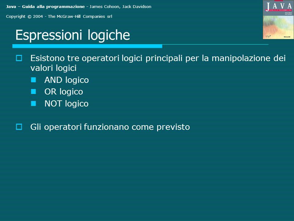 Java – Guida alla programmazione - James Cohoon, Jack Davidson Copyright © 2004 - The McGraw-Hill Companies srl Prova degli operatori per l uguaglianza Considerare System.out.print( Enter a string: ); String s1 = stdin.readLine(); System.out.print( Enter another string: ); String s2 = stdin.readLine(); if (s1.equals(s2)) { System.out.println( Same ); } else{ System.out.println( Different ); } Verifica se s1 e s2 rappresentano lo stesso oggetto Tutti gli oggetti hanno un metodo equals().