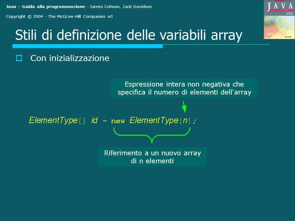 Java – Guida alla programmazione - James Cohoon, Jack Davidson Copyright © 2004 - The McGraw-Hill Companies srl Method sequentialSearch() di ArrayTools.java public static int sequentialSearch(int[] data, int key) { for (int i = 0; i < data.length; ++i) if (data[i] == key) return i; } return -1; } Considerare int[] score = 6, 9, 82, 11, 29, 85, 11, 28, 91 }; int i1 = sequentialSearch(score, 11); int i2 = sequentialSearch(score, 30);
