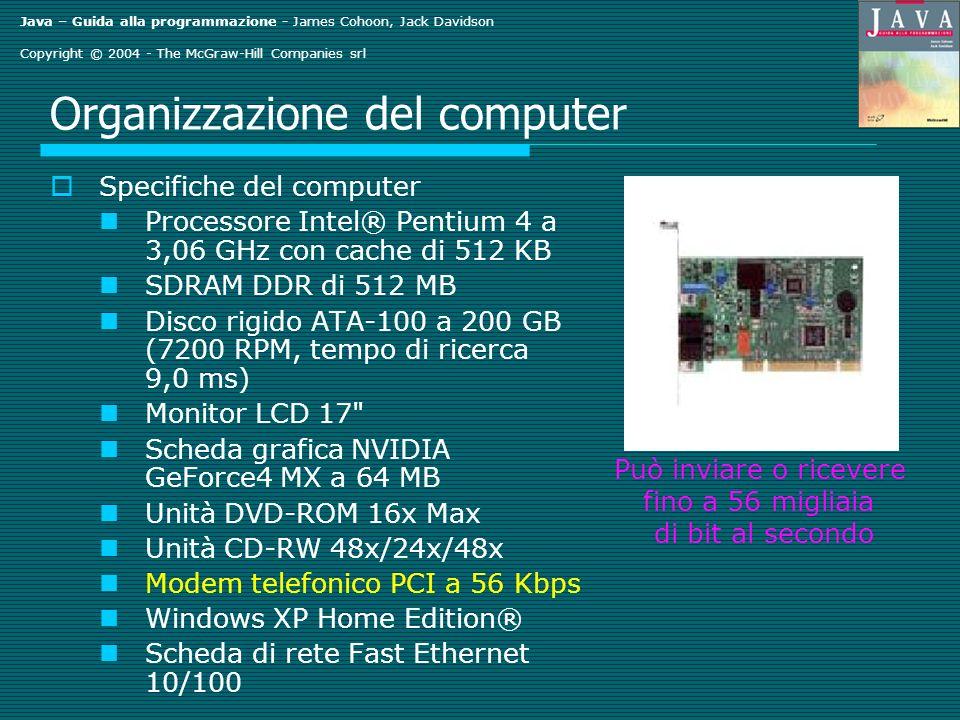 Java – Guida alla programmazione - James Cohoon, Jack Davidson Copyright © 2004 - The McGraw-Hill Companies srl Organizzazione del computer Specifiche del computer Processore Intel® Pentium 4 a 3,06 GHz con cache di 512 KB SDRAM DDR di 512 MB Disco rigido ATA-100 a 200 GB (7200 RPM, tempo di ricerca 9,0 ms) Monitor LCD 17 Scheda grafica NVIDIA GeForce4 MX a 64 MB Unità DVD-ROM 16x Max Unità CD-RW 48x/24x/48x Modem telefonico PCI a 56 Kbps Windows XP Home Edition® Scheda di rete Fast Ethernet 10/100 Può inviare o ricevere fino a 56 migliaia di bit al secondo