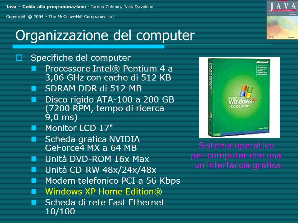 Java – Guida alla programmazione - James Cohoon, Jack Davidson Copyright © 2004 - The McGraw-Hill Companies srl Organizzazione del computer Specifiche del computer Processore Intel® Pentium 4 a 3,06 GHz con cache di 512 KB SDRAM DDR di 512 MB Disco rigido ATA-100 a 200 GB (7200 RPM, tempo di ricerca 9,0 ms) Monitor LCD 17 Scheda grafica NVIDIA GeForce4 MX a 64 MB Unità DVD-ROM 16x Max Unità CD-RW 48x/24x/48x Modem telefonico PCI a 56 Kbps Windows XP Home Edition® Scheda di rete Fast Ethernet 10/100 Sistema operativo per computer che usa un interfaccia grafica