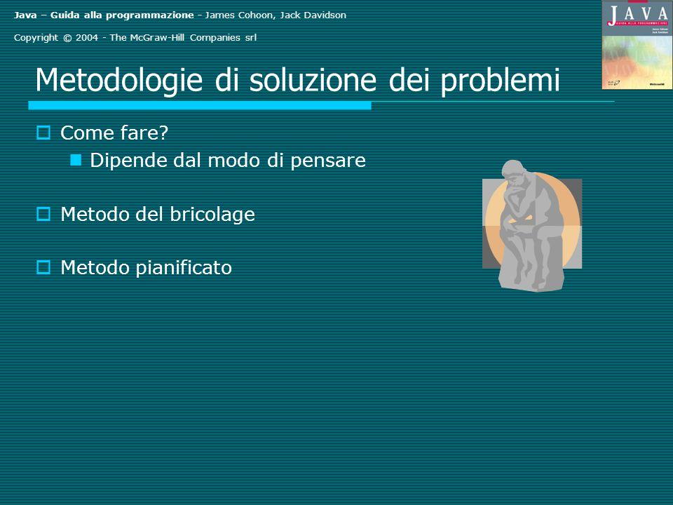 Java – Guida alla programmazione - James Cohoon, Jack Davidson Copyright © 2004 - The McGraw-Hill Companies srl Metodologie di soluzione dei problemi Come fare.