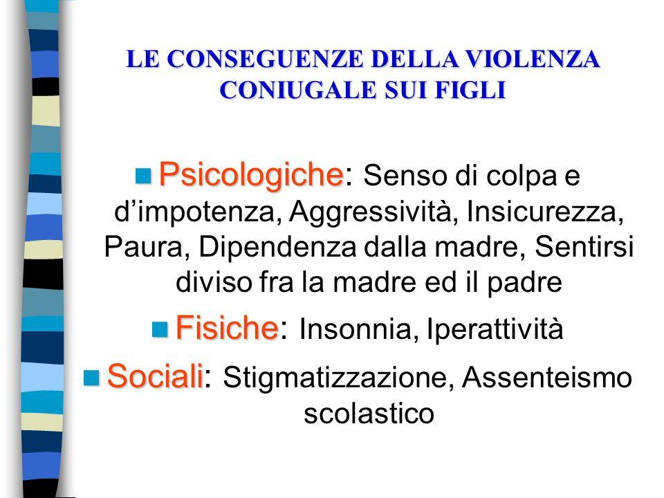 Psicologiche Psicologiche: Senso di colpa e dimpotenza, Aggressività, Insicurezza, Paura, Dipendenza dalla madre, Sentirsi diviso fra la madre ed il p